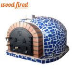 SUPERIOR BLUE MOSAIC WOOD FIRED PIZZA OVEN WITH CAST IRON FLUE AND MOSAIC TILES